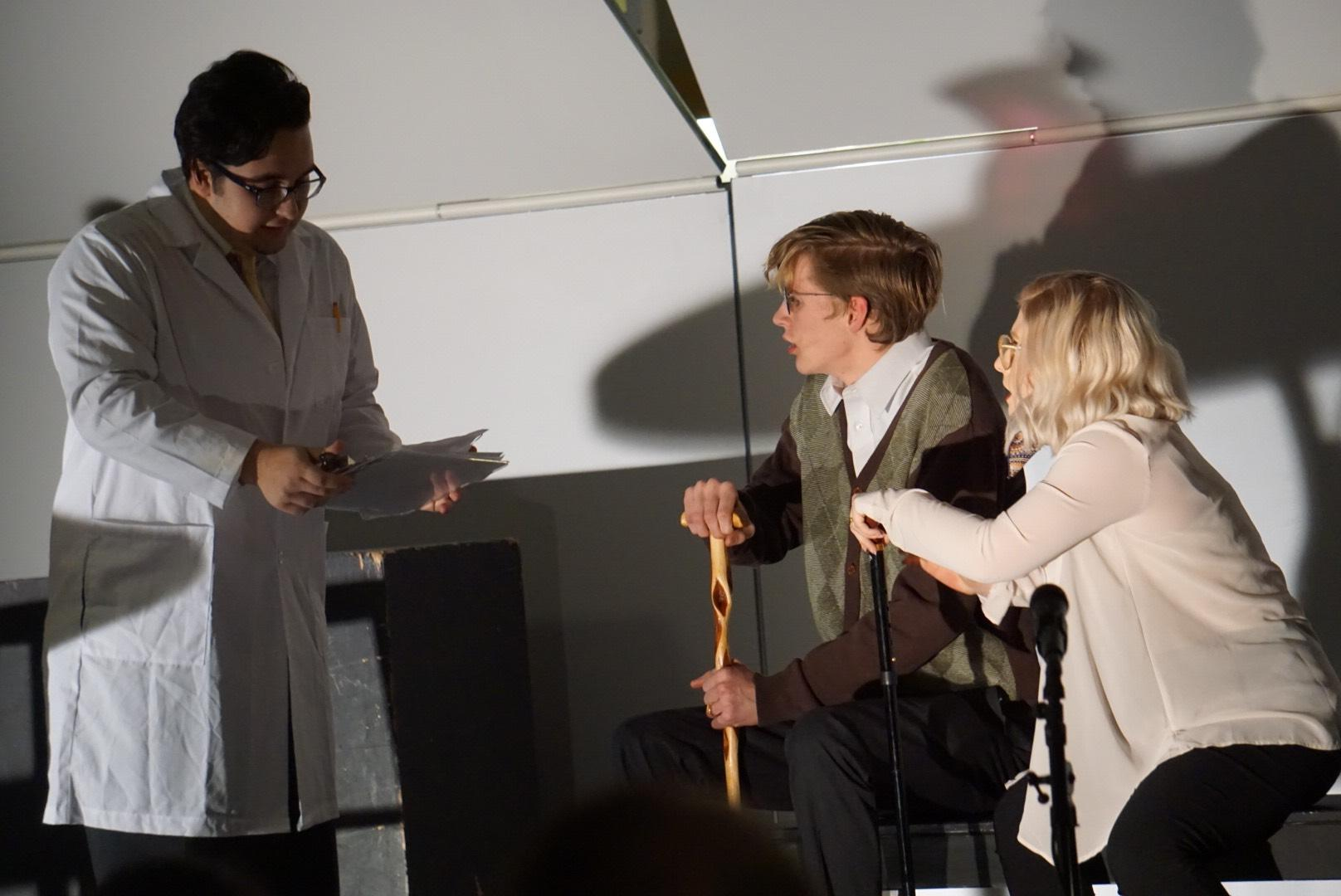 Students Andrew Pegoretti, Brian McDonald, and Isabella Giordano perform at the Highland Play Productions' Cabaret.