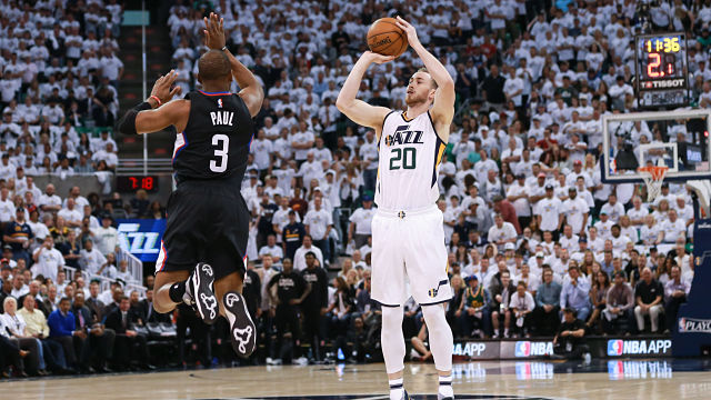 Apr 23, 2017; Salt Lake City, UT, USA; Utah Jazz forward Gordon Hayward (20) shoots the ball over LA Clippers guard Chris Paul (3) during the first quarter in game four of the first round of the 2017 NBA Playoffs at Vivint Smart Home Arena. Mandatory Credit: Chris Nicoll-USA TODAY Sports