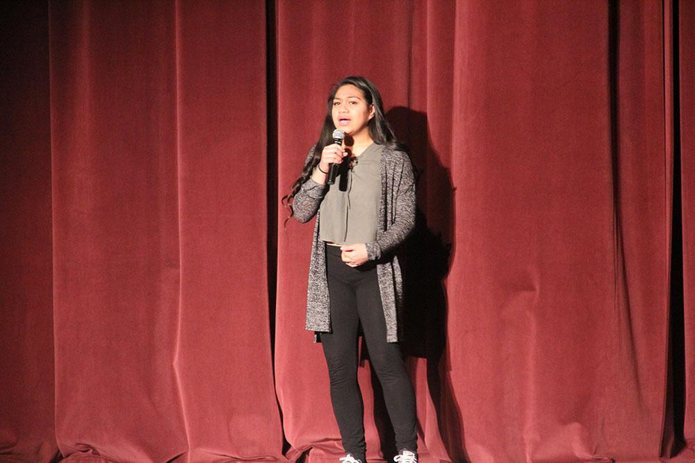Liliena Pupu'a sings during Highland's talent show assembly.