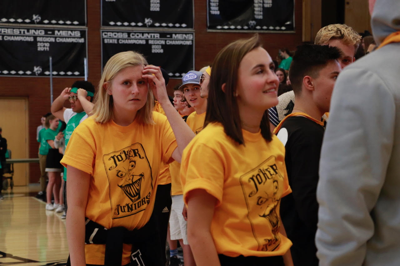 Junior class secretary Emily Bertola attempts to keep her class at bay during the spirit bowl last week.