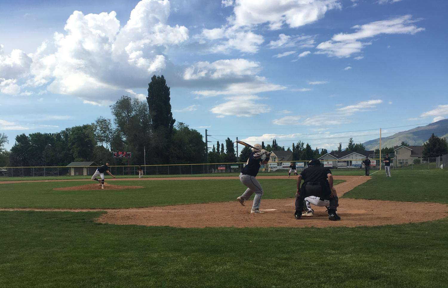 Junior Max Moore up to bat for the Highland Rams during their game against the Viewmont Vikings on Tuesday, May 15.