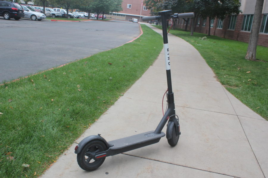 A Bird scooter outside of Highland, after a student rode it to school.