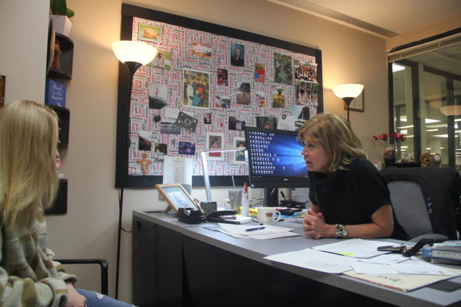 Olivia+Littlefield+talks+to+counselor+Karrie+Jarratt