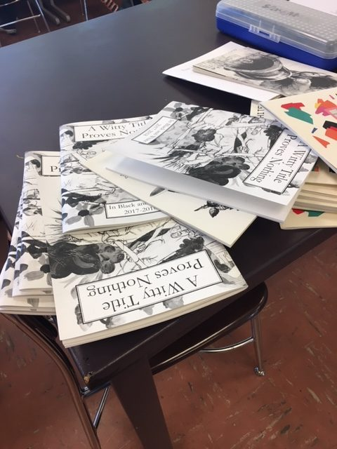 The literary magazines of years past inspire the future during an editing session.