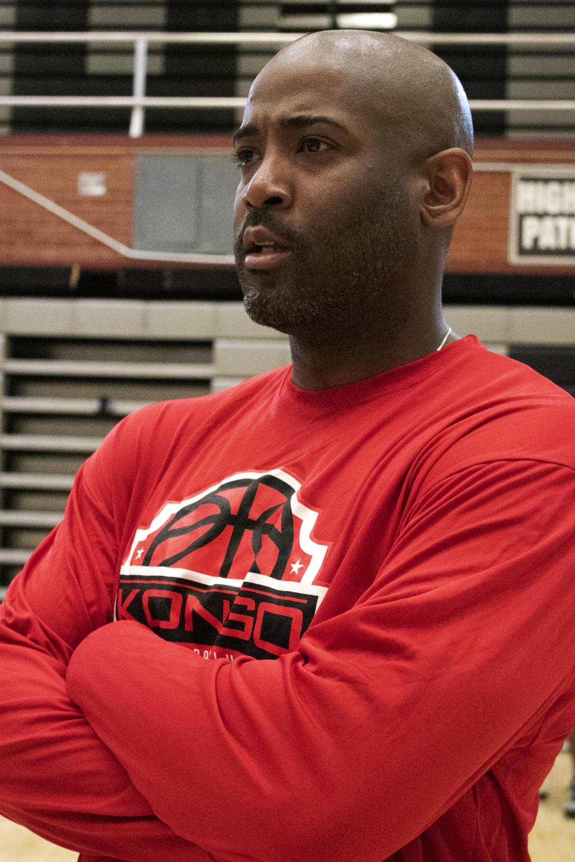 Coach Fraizer at Highland's basketball practice.