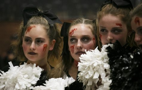 Pep Club Members (left to right) Cali Brandt, Grace Conde, Anna Smith, Libbie Smith
