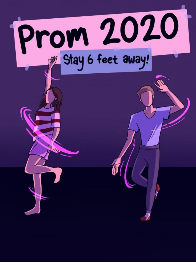 Students dance at an imaginary Prom 2020.