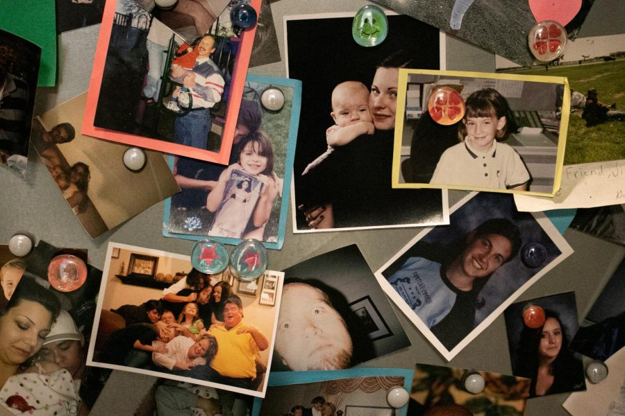 A small room where each visitor leaves a photo of their lost loved one in honor of their memory.