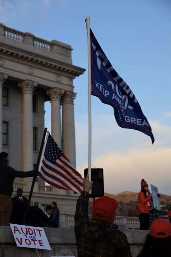 Utah+Capitol+Fills+With+Trump+Supporters+After+Insurrection+In+Congress