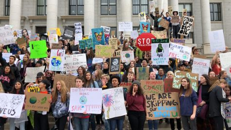 Students protest at the Utah State Capitol