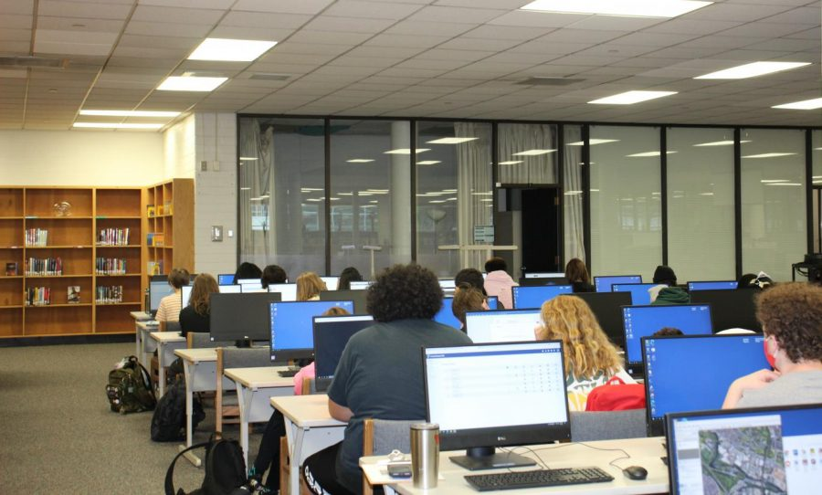 Highland students take a test in the library