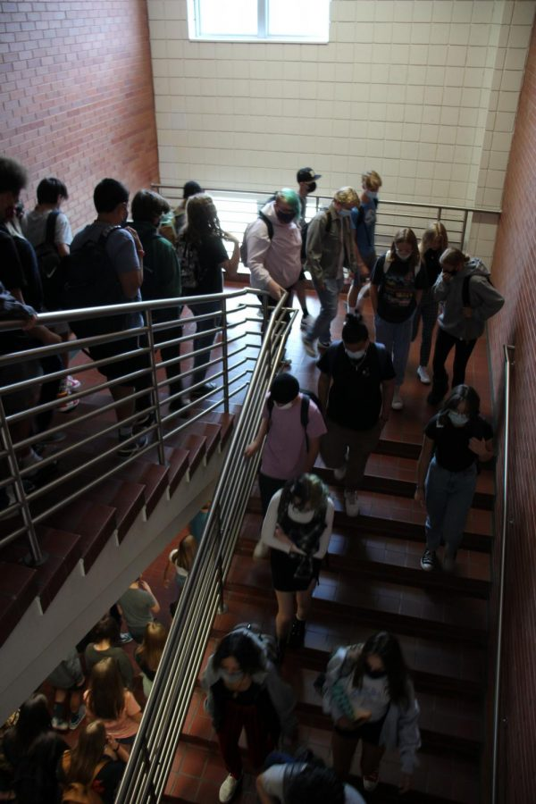 Students leave the building during the fire drill on Sept. 2.